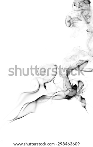 Abstract black smoke on white background, smoke background,black ink background ,black and white ,B&W