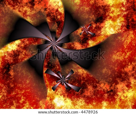 abstract black spirals against fiery orange and gold background that looks like lava-perfect for halloween - stock photo