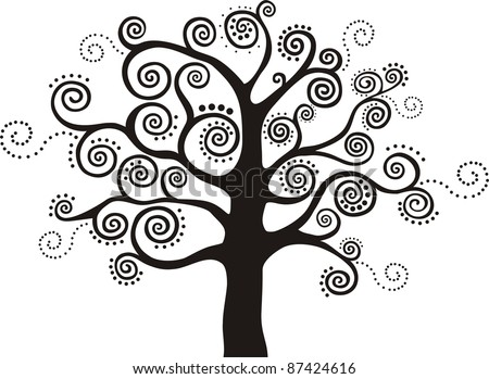 Abstract  black  tree isolated on White background. - stock photo