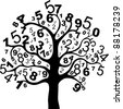 Abstract black  tree with numbers isolated on white background. Illustration - stock photo