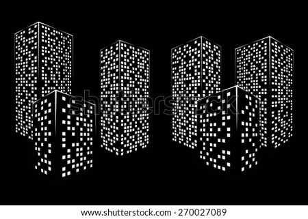 abstract black white city graphical silhouette isolated on black background. raster illustration - stock photo
