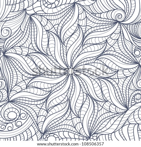 Abstract black white drawing flowers