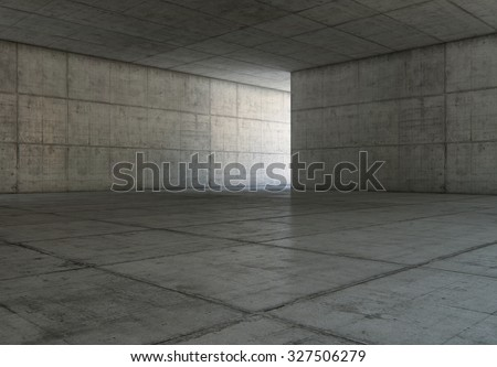 Abstract blank space of empty room with concrete walls. Modern concrete background. - stock photo
