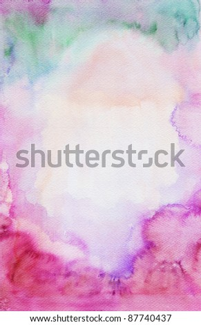 Abstract blank watercolor : wet on wet paper - stock photo