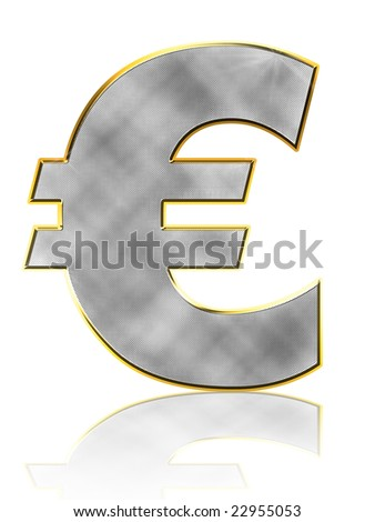 Abstract Bling Euro Symbol on white with reflection