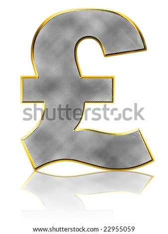 Abstract Bling Pound Symbol on white with reflection