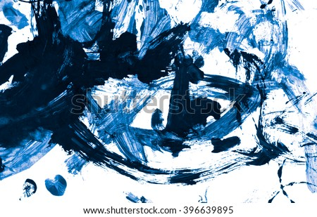 Abstract blue acrylic hand painted background. Fashion and beauty. Ocean and sea. Isolated on white background. Close up. - stock photo