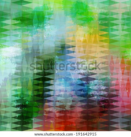 Abstract blue and green grunge defocused background with geometric triangular ornament. Raster version - stock photo