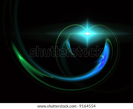 abstract blue and green heart fractal - stock photo