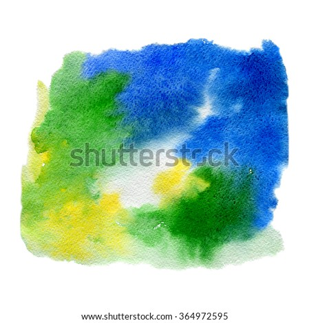 Abstract blue and green watercolor background - stock photo