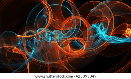abstract blue and orange red smoke over black background with copyspace - stock photo