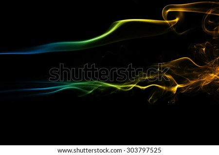 Abstract blue and orange smoke on black background, smoke background,blue and orange ink background, blue and orange fire - stock photo
