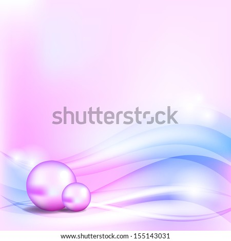 Abstract blue and pink background with two pearls - stock photo