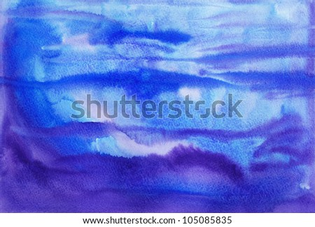 Abstract blue and purple watercolor painting background - stock photo