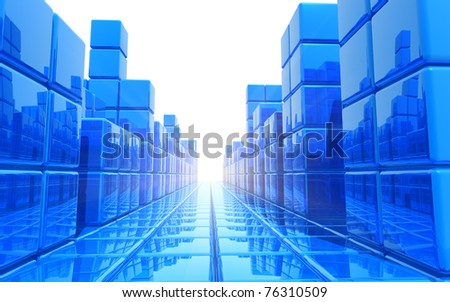 Abstract blue architectural background - stock photo