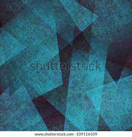 abstract blue background, elegant black old parchment grunge texture in abstract art background triangle layout design with blue paper parchment contrast layers, modern art blue background - stock photo
