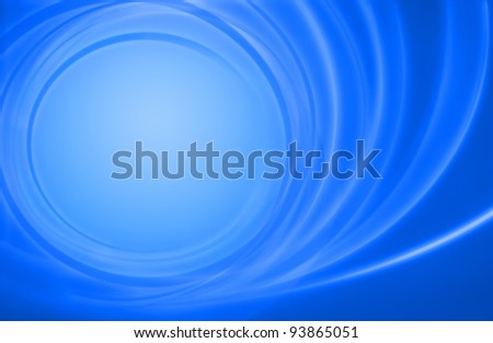 Abstract blue background featuring spiral circles of energy leading to a calm center - stock photo