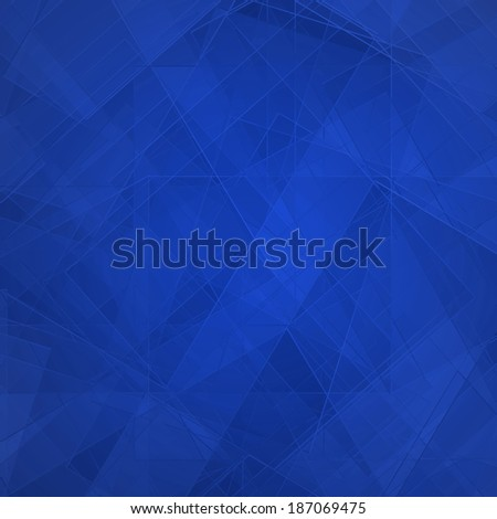 Abstract blue background, modern geometric line designs and triangle diamond and square shape patterns with glass texture layout  - stock photo