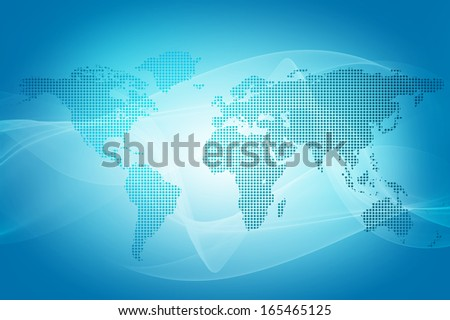 abstract blue background of world map made with dots - stock photo
