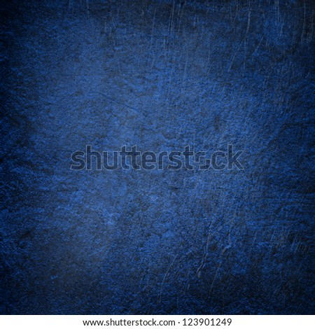 Abstract blue background or paper with bright center spotlight and dark border frame with grunge background texture. For vintage layout design of light colorful graphic art - stock photo
