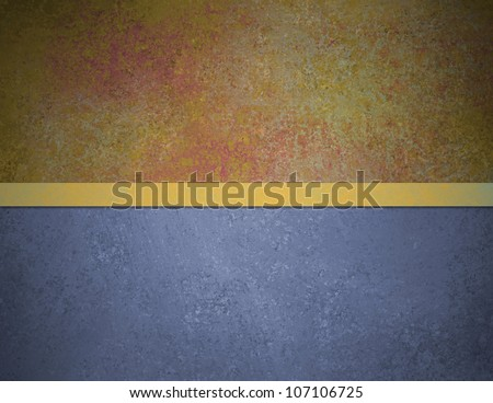 abstract blue background red gold top banner bar with vintage grunge background texture and elegant gold ribbon stripe over design layout, book cover or web template background