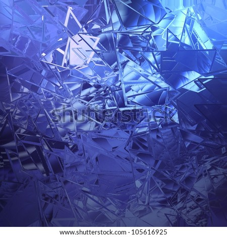 abstract blue background shattered glass with white beautiful background light texture has sharp jagged pieces of broken glass illustration for web app background design cover or classy ad brochure - stock photo