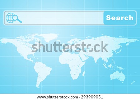 Abstract blue background with browser and world map