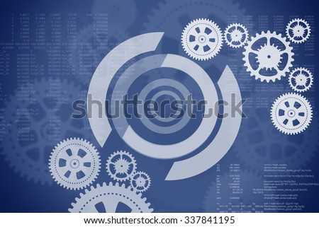 Abstract blue background with cogs and numbers