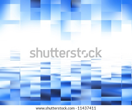abstract blue background with cubic features - stock photo