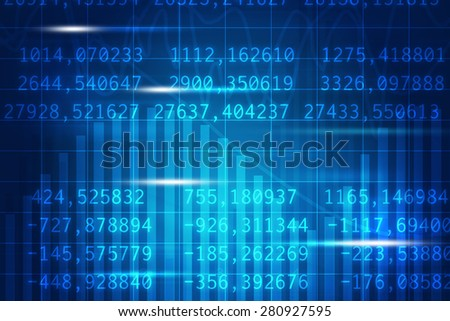 Abstract blue background with flashes and figures
