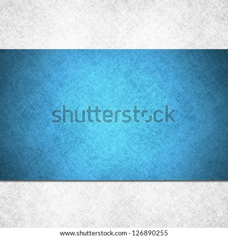 abstract blue background with frosty white background, canvas linen parchment material illustration, big fancy blue backdrop stripe or ribbon over white layer layout, website design template concept - stock photo
