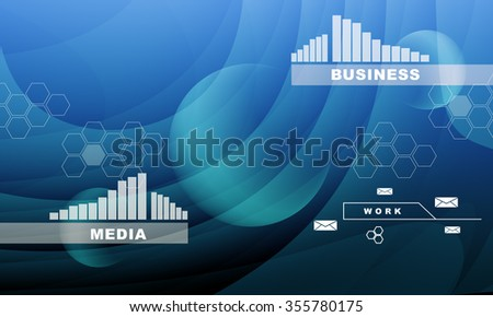 Abstract blue background with graphs and business words