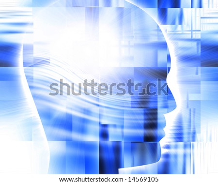 Abstract blue background with integrated human head - stock photo