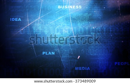 Abstract blue background with map