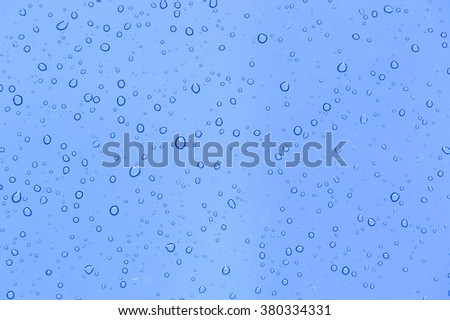 abstract blue background with raindrops on glass