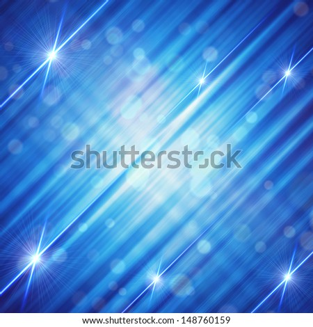 abstract blue background with shining white lines and stars - stock photo