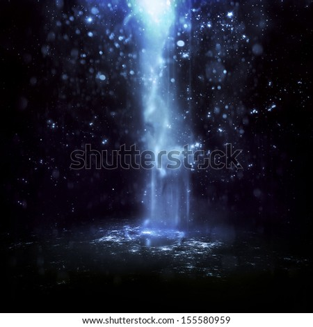 Abstract blue background with smoke and stars.