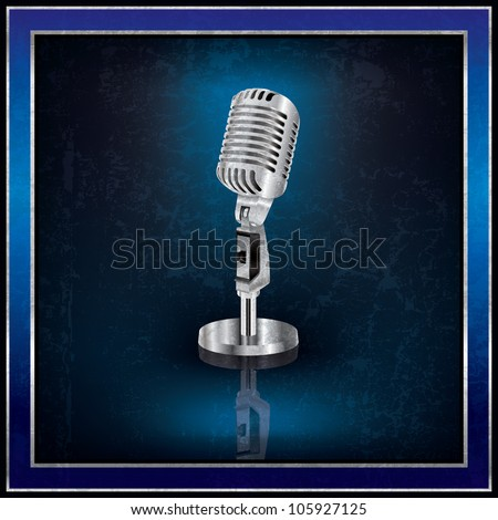 Abstract blue background with the retro microphone - stock photo