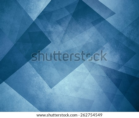 abstract blue background with triangles and rectangle shapes layered in contemporary modern art design - stock photo