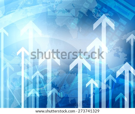 Abstract blue background with world map and arrows up