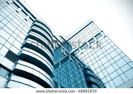 abstract blue building skyscraper - stock photo