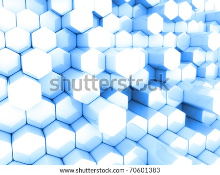Abstract blue business background with different hexagons - stock photo