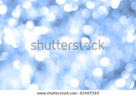 Abstract blue christmas lights as background - stock photo