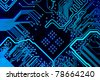 Abstract blue computer circuit board close up for background. - stock photo