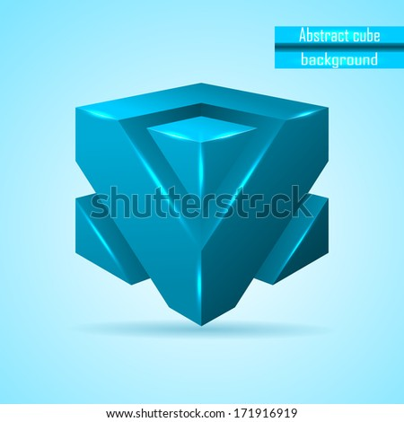 abstract blue cube - stock photo