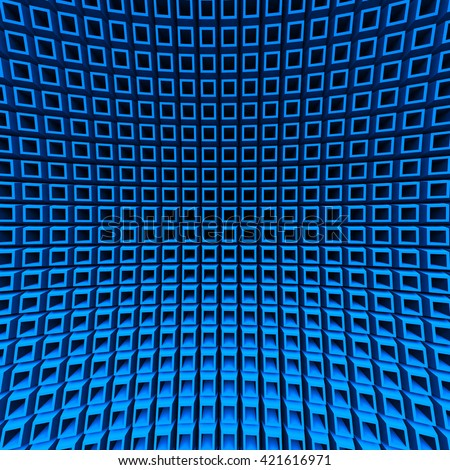 Abstract Blue Cube Blocks Wall Background. 3d Render Illustration - stock photo
