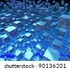 abstract blue cubes background - stock photo