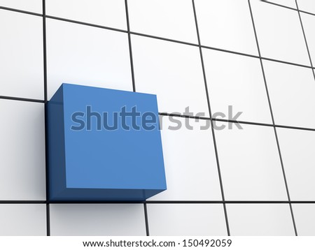 Abstract blue 3d cube on background of white squares