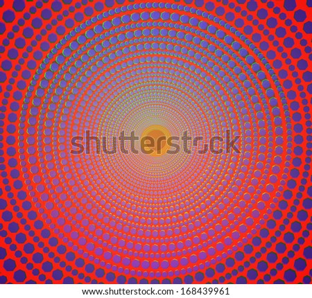 abstract blue dot on orange background.