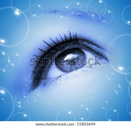 abstract blue eye with bubbles in motion - stock photo
